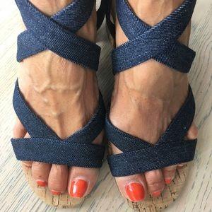 Nine West blue denim sandal